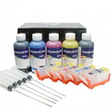 Kit 5 refillable cartridges series PGI-520 / CLI-521 + 500ml ink