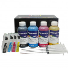 Refillable cartridges for Brother LC-223 + 400ml ink